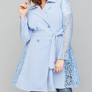 Blue Lilac Crepe & Lace Trench Coat Size 10/12